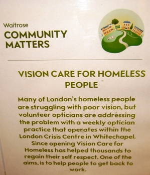 Waitrose supports vision care for homeless people